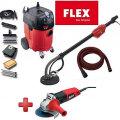 Zestaw narzędzi FLEX – Odkurzacz przemysłowy FLEX S47 + szlifierka kątowa FLEX L800 + szlifierka żyrafa FLEX WSE500 do gipsu gładzi